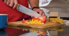 Chopping vegetables in a kitchen