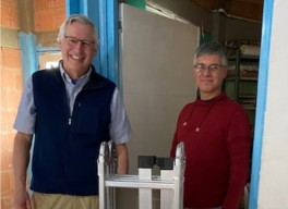 Pastor Greg Wilcox with Pastor Jairo who works at the senior center and soup kitchen in the Soacha neighborhood of Bogata, Colombia.